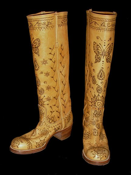 Wood Burned Boots